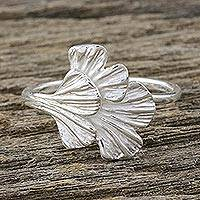 Sterling silver wrap ring, 'Double Ginkgo' - Artisan Crafted Sterling Silver Gingko Leaf Wrap Ring