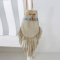 Suede shoulder bag, 'Chic Bohemian' - Handcrafted Bohemian Suede Shoulder Bag from Thailand