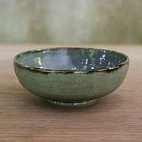 Ceramic bowl, 'Lovely Nature' - Leaf-Themed Ceramic Bowl in Green from Thailand