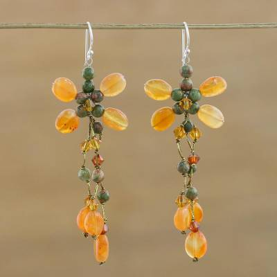 Carnelian and unakite chandelier earrings, 'Pretty in Carnelian' - Hand Crafted Carnelian and Unakite Chandelier Earrings