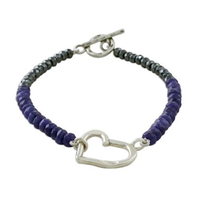Handmade Dyed Quartz Hematite 950 Silver Bracelet