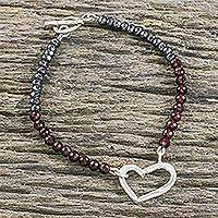 Garnet and hematite beaded pendant bracelet,