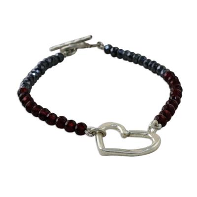Handmade Garnet Hematite 950 Silver Bracelet