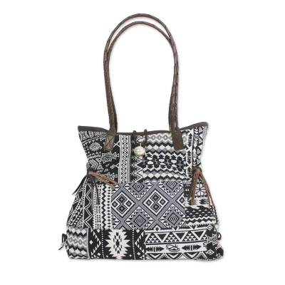 Black and White Cotton Shoulder Bag with Leather Accent