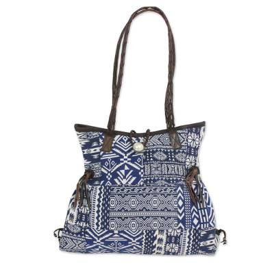 Blue and White Patchwork Handbag