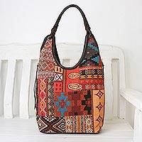 Leather accented cotton blend hobo bag, 'Perfect Patchwork in Red' - Handmade Cotton Blend Patchwork Red Hobo Bag Leather Trim