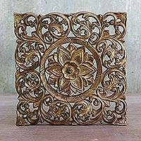 Teakwood wall relief panel , 'Flower Blooming' - Hand Carved Taiwanese Floral Wood Panel in a Gold Finish