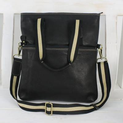 Leather shoulder bag, 'Accomplished' - Black Leather Handbag with Removable Strap and Roomy Pockets