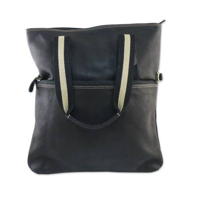 Black Leather Handbag with Removable Strap and Roomy Pockets