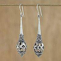 Sterling silver dangle earrings, 'Pendulum Promise' - Hand Crafted Sterling Silver Dangle Earrings from Thailand