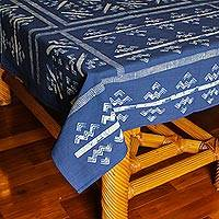 Cotton batik tablecloth, 'Mountains & Rivers' (39x59) - Hmong Hill Tribe Printed Batik Cotton Tablecloth (39x59)