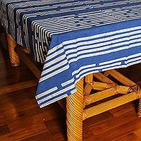 Cotton batik tablecloth, 'Bamboo Forest' (39x59) - Small Batik Cotton Tablecloth in Blue Print (39x59)
