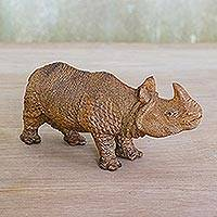 Wood statuette, 'Curious Rhino' - Hand Carved Raintree Wood Rhinoceros Sculpture