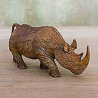 Wood statuette, 'Rhino on the Move' - Rhinoceros Sculpture Hand Carved from Raintree Wood
