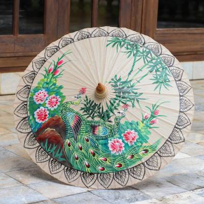 Cotton parasol, 'Plush Peacock' - Hand Painted Cotton and Bamboo Peacock Parasol from Thailand