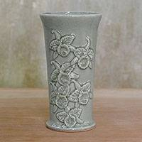 Celadon ceramic vase, 'Orchid Bloom' - Ceramic Celadon Vase with Orchid Motif from Thailand