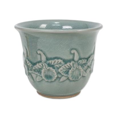 Elegant Light Blue Celadon Ceramic Decorative Bowl