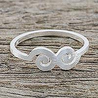 Featured review for Sterling silver mid-finger ring, Cloud Swirls