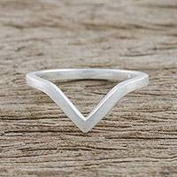 Sterling silver mid-finger ring, 'Wondrous Angle' - Angular Sterling Silver Mid-Finger Ring from Thailand