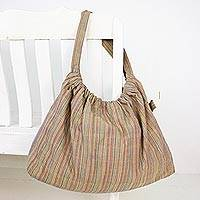 Cotton hobo bag, 'Striped Way in Multicolor' - Handmade 100% Cotton Striped Handbag from Thailand