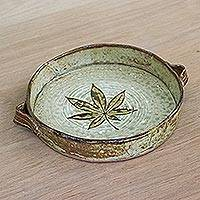 Ceramic tray, 'Passion Maple' - Handmade Clay Ceramic Leaf Tray with Side Handles