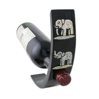 Mango Wood Lacquer Elephant Wine Bottle Holder from Thailand