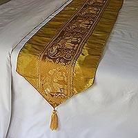 Brocade bed runner, 'Golden Elephants' - Gold Elephant Brocade Bed Runner with Tassels from Thailand