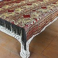 Brocade tablecloth, 'Dancing Elephants in Red' - Handmade Polyester Fringed Elephant Tablecloth Thailand