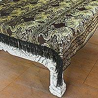 Brocade tablecloth, 'Dancing Elephants in Brown' - Handmade Polyester Fringed Elephant Tablecloth Thailand