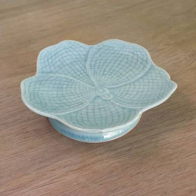 Celadon ceramic centerpiece, 'Blooming Orchid' - Hand Made Celadon Orchid Centerpiece or Serving Dish