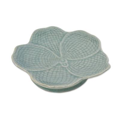 Hand Made Celadon Orchid Centerpiece or Serving Dish