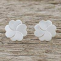 Sterling silver stud earrings, 'Affectionate Clover' - Handmade Thai Sterling Silver Clover Stud Earrings