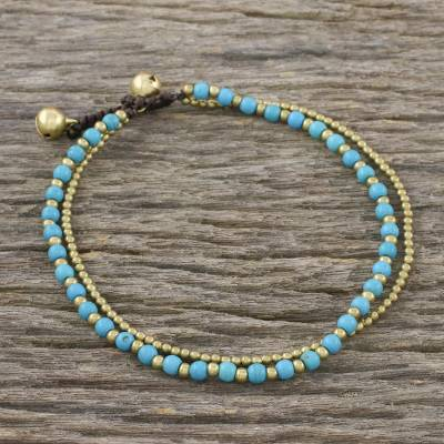 Brass beaded anklet, 'Ringing Beauty' - Brass and Calcite Beaded Anklet from Thailand