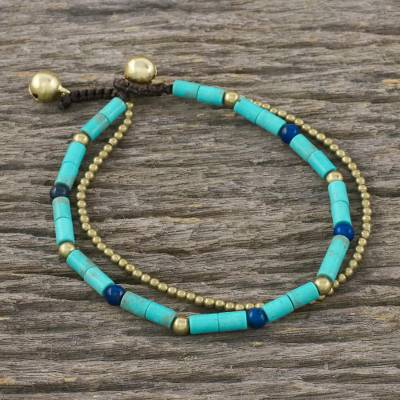 Lapis lazuli and brass beaded bracelet, 'Calm Seas' - Double Strand Calcite and Lapis Lazuli Thai Beaded Bracelet