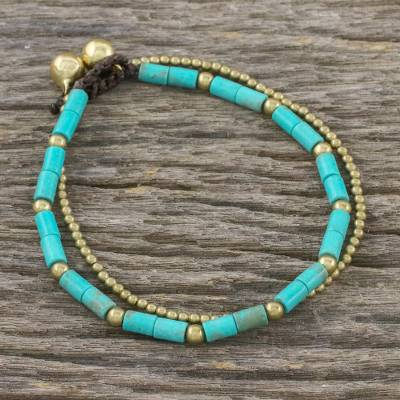 Brass beaded bracelet, 'Calm Seas' - Blue-Green Calcite and Brass Double Stand Beaded Bracelet