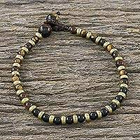 Tiger's eye and onyx beaded bracelet, 'Mystic Dream' - Tiger's Eye Onyx and Brass Beaded Hand Crafted Bracelet