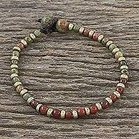 Unakite and jasper beaded bracelet, 'Mystic Field' - Unakite Red Jasper Brass Beaded Adjustable Bracelet
