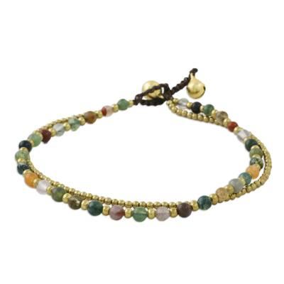 Handmade Multi-Color Agate Brass Beaded Anklet with Loop