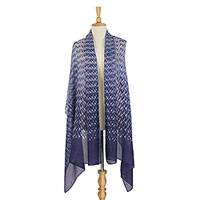 Tie-dyed silk shawl, 'Indigo Party' - Hand Tie-Dyed 100% Silk Shawl in Indigo from Thailand