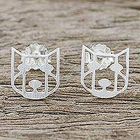 Sterling silver stud earrings, 'Hair of the Dog' - Handmade 925 Sterling Silver Stud Earrings Dog Face Thailand