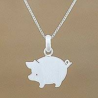Sterling silver pendant necklace, 'Quaint Pig' - Handmade 925 Sterling Silver Pendant Necklace Pig Thailand