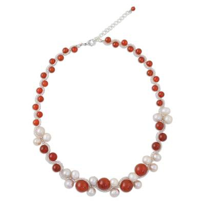 Carnelian and cultured pearl beaded necklace, 'Runway Chic in Red' - Handmade Carnelian Cultured Pearl Beaded Necklace Thailand
