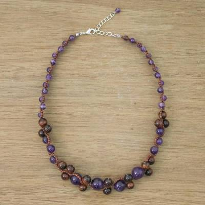 Amethyst and tiger's eye beaded necklace, 'Purple Runway Chic' - Handmade Tigers Eye Amethyst Beaded Necklace Thailand