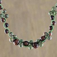 Tiger's eye and unakite beaded necklace, 'Burgundy Runway Chic' - Handmade Tigers Eye Unakite Beaded Necklace Thailand