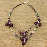 Multi-gemstone beaded pendant necklace, 'Dawn Bloom in Purple' - Handmade Quartz Amethyst Tigers Eye Garnet Pendant Necklace