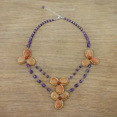 Multi-gemstone beaded pendant necklace, 'Dawn Bloom in Orange' - Handmade Carnelian Amethyst Glass Floral Pendant Necklace