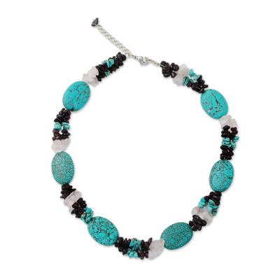 Handmade Calcite Garnet Rose Quartz Beaded Necklace