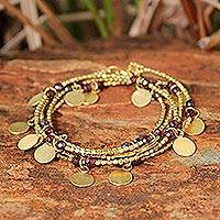 Garnet beaded wrap bracelet, 'Warm Sun' - Garnet and Brass Charm Wrap Bracelet from Thailand