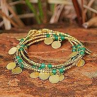 Quartz beaded wrap bracelet, 'Warm Sun' - Quartz and Brass Charm Wrap Bracelet from Thailand