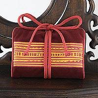 Velvet jewelry roll, 'Precious Hill Tribe in Red' - Handmade Polyester Velvet Hill Tribe Jewelry Roll Thailand